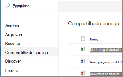 Captura de tela de compartilhado comigo ver no OneDrive for Business