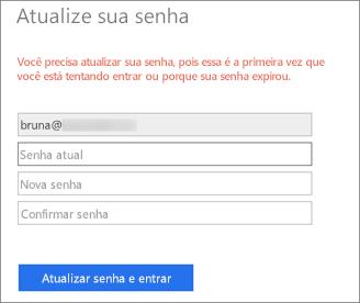 O Office 365 solicita que o usuário crie uma nova senha.