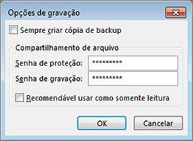 Imagem da caixa de diálogo Opções de Salvamento