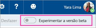 Uma captura de tela do botão de alternância Visualização