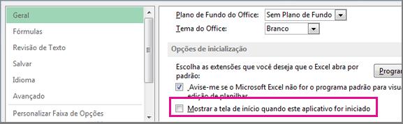 A opção do Excel para desativar a Tela Inicial ao abrir o Excel