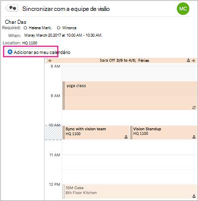 Clique no botão Adicionar aos meu calendário para adicionar um evento de grupo ao seu calendário pessoal