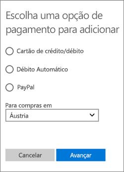 Menu Escolher uma opção de pagamento, mostrando as opções disponíveis para a Áustria.