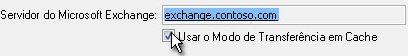 Caixa de seleção Usar modo cache do Exchange