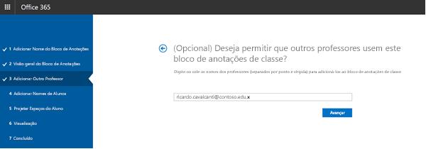 Captura de tela da etapa opcional professor adicionais permissões.