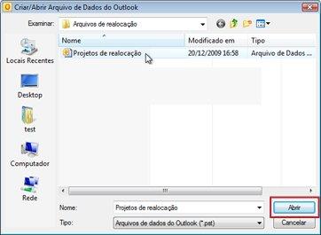 Caixa de diálogo Criar/Abrir Arquivo de Dados do Outlook