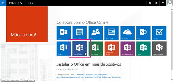 Selecionar um aplicativo do Office Online