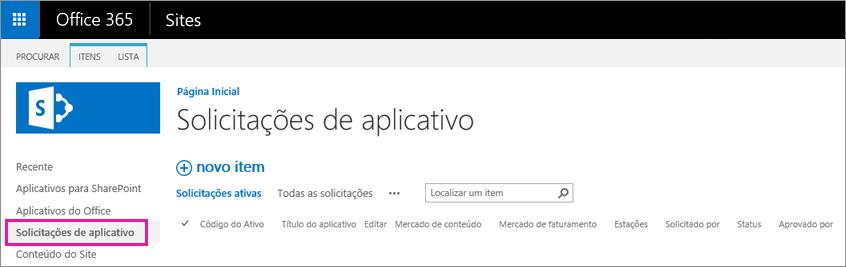 Captura de tela mostrando o link Solicitação de Aplicativo