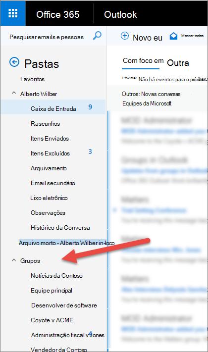 Você encontrará seus grupos no painel de navegação à esquerda no Outlook ou no Outlook na Web