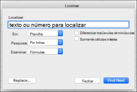 Localizar texto ou números em uma pasta de trabalho ou planilha pressionando Ctrl + F