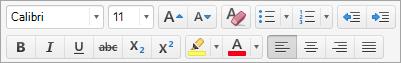 Mostra o opções de formatação de texto