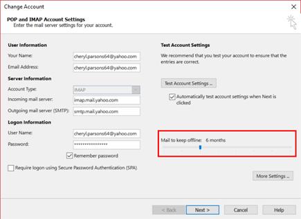 Você pode alterar por quanto tempo de emails mantida offline.