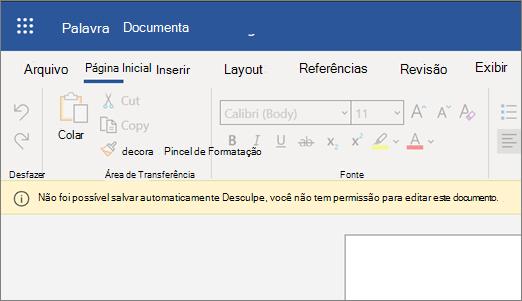 Captura de tela de Não foi possível salvar o erro automaticamente durante a edição de um documento no Word