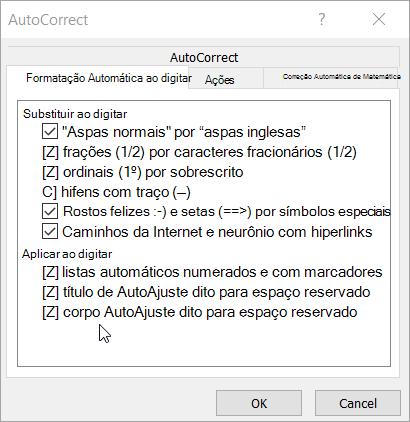 Opções em AutoFormatação ao digitar guia