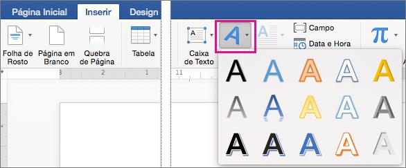 Guia Inserir com a opção WordArt realçada.