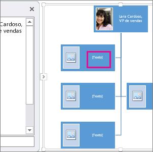 Organograma com imagem do SmartArt com a caixa do organograma realçada para mostrar onde você pode inserir texto