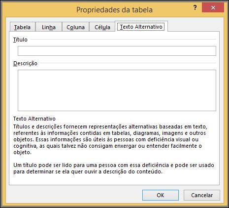 Guia texto ALT na caixa de diálogo Propriedades da tabela