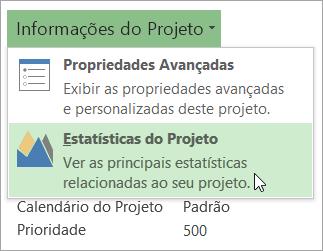 Opções das Informações do Projeto