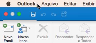 Para ver qual versão do Outlook você tem, escolha o Outlook na barra de menus.