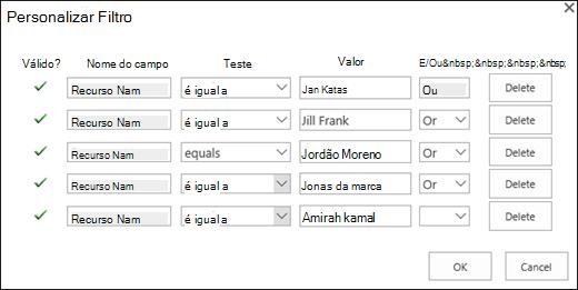 Adicionando os recursos atribuídos por meio do filtro.