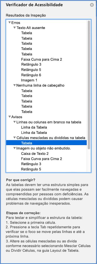 Captura de tela do menu Verificador de Acessibilidade
