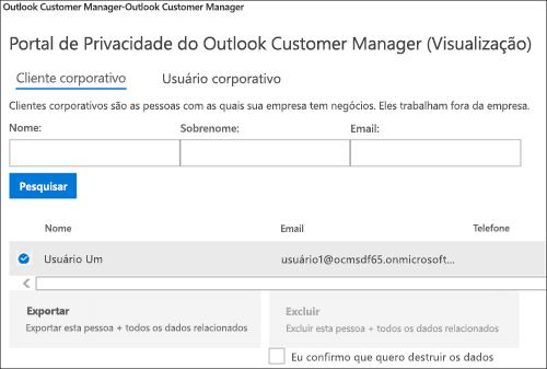 Captura de tela: exportar dados do cliente do Outlook Customer Manager