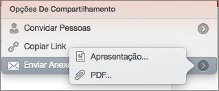 Opções de Compartilhar Email do PPT para Mac
