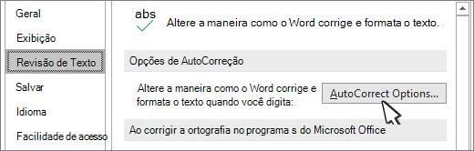 Botão Opções de AutoCorreção na caixa de diálogo revisão de texto
