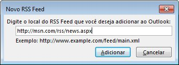 Inserir a URL do RSS Feed
