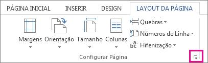 Botão que abre a caixa Configuração de Página