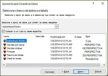 Assistente de conexão de dados > Selecionar banco de dados e tabela