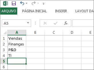 Criar sua lista suspensa de entradas em única coluna ou linha no Excel