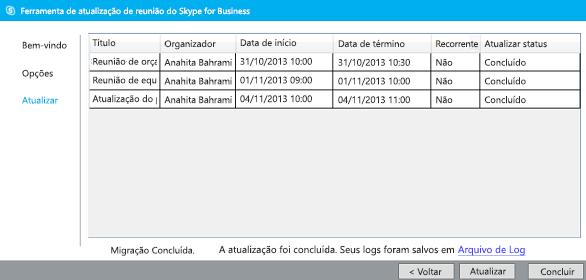 captura de tela da atualização da ferramenta de migração de reunião concluída