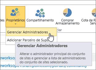 Botão de proprietários de administrador de Site de SPO com gerenciar administradores realçado.