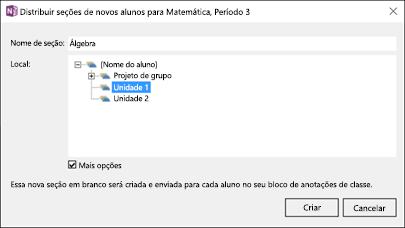 Captura de tela de como distribuir novas seções no suplemento Criador de Bloco de Anotações de Classe.