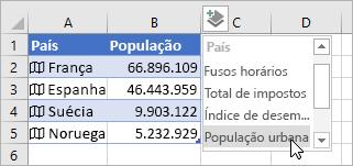 Segunda coluna dos dados adicionados