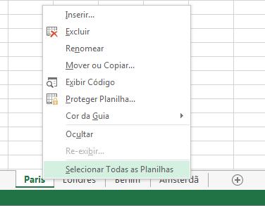 No menu de atalho, a opção Selecionar Todas as Planilhas foi selecionada.