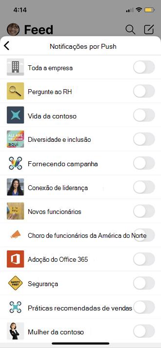 Enviar configurações de perfil móvel do Yammer