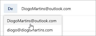 Uma captura de tela mostrando o menu suspenso de endereço De