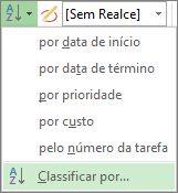 Imagem do menu Classificar na guia Exibição