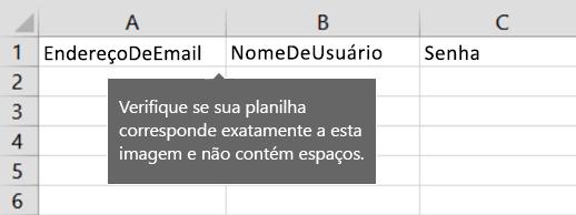 Títulos de célula no arquivo de migração do Excel