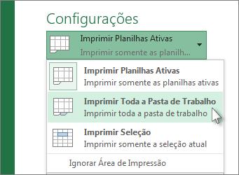 Em Configurações, clique em Imprimir Toda a Planilha