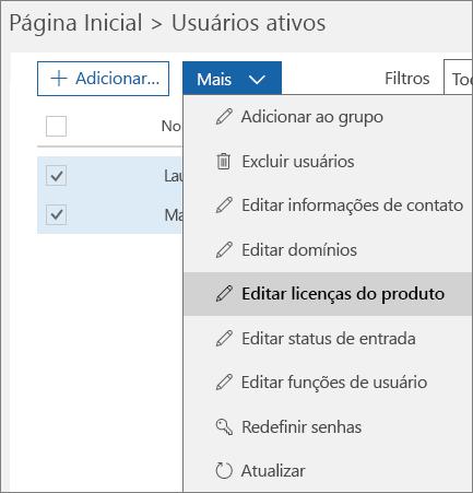 Remover todas as licenças de usuário usando o Centro de administração do Office 365