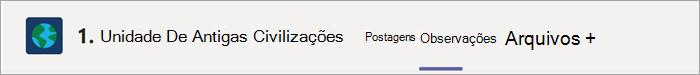 Destacando a seção de anotações encontrada dentro do canal de uma classe de Equipe de Classe. Use este botão para acessar o Bloco de Anotações de Classe em um canal.