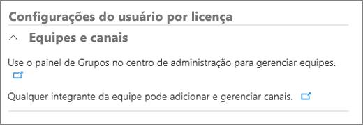 Configurações do usuário por licença