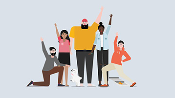 Um grupo de pessoas com as mãos levantadas
