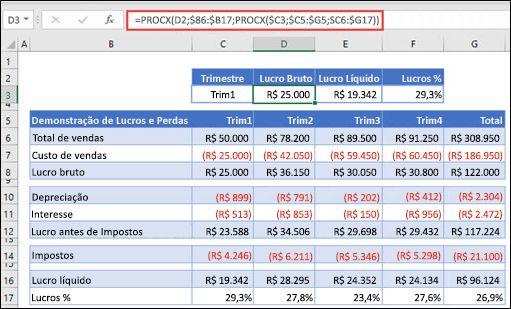 Imagem da função PROCX usada para retornar dados horizontais de uma tabela aninhando 2 PROCXs. A fórmula é: =PROCX(D2;$B6:$B17;PROCX($C3;$C5:$G5;$C6:$G17))