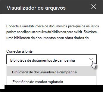 Painel de propriedades do Visualizador de arquivos com a conexão ao menu suspenso fonte
