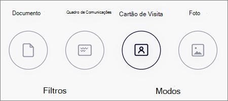 Opções do modo para digitalização de imagem no OneDrive para iOS