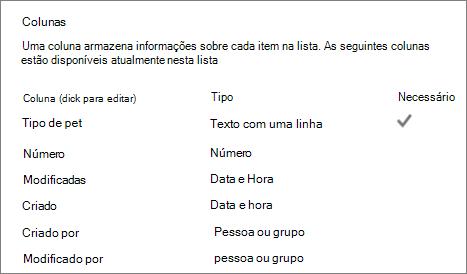 Seção de colunas de lista nas configurações da lista
